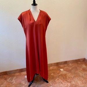 HALSTON! Rust silky cocoon dress minimalist XL